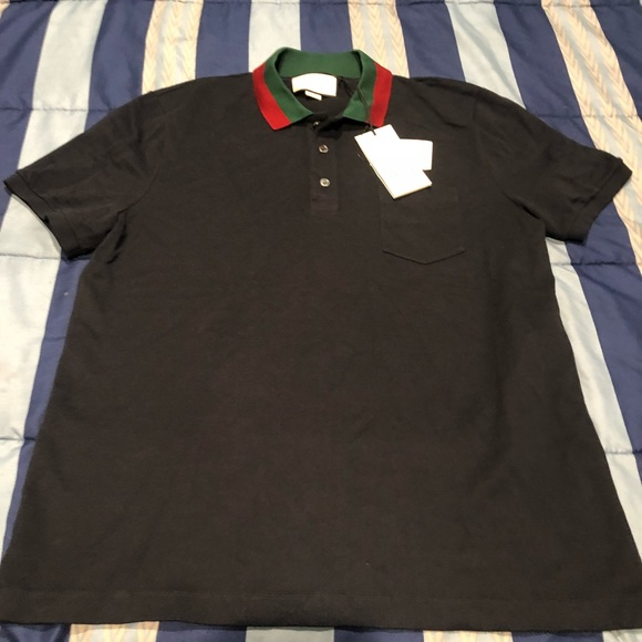 e851c68f0 Gucci Shirts | Black Polo With Red And Green Collar | Poshmark